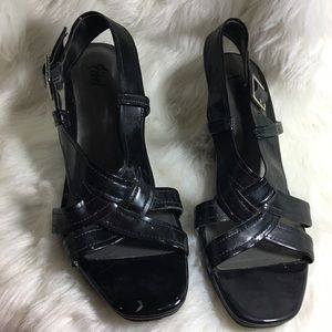 Fiona Patent Leather Wedges Black SZ 9.5